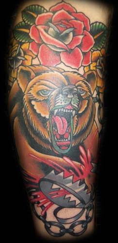 Old School Bear Tattoo by Broad Street Studio