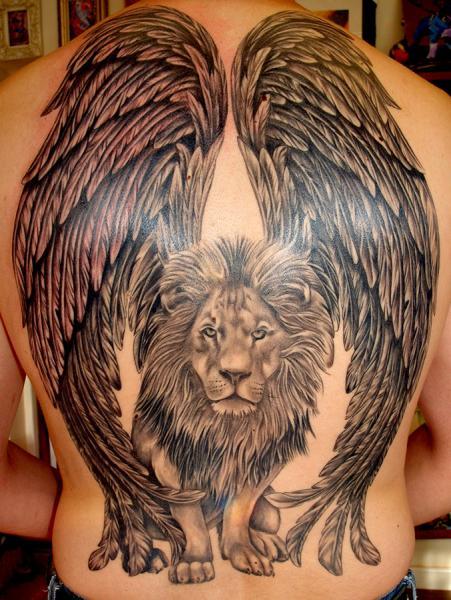 Fantasy Back Lion Wings Tattoo by Cherub Tattoo