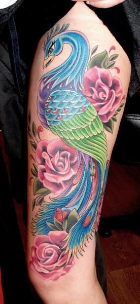 Shoulder Peacock Tattoo by Cherub Tattoo