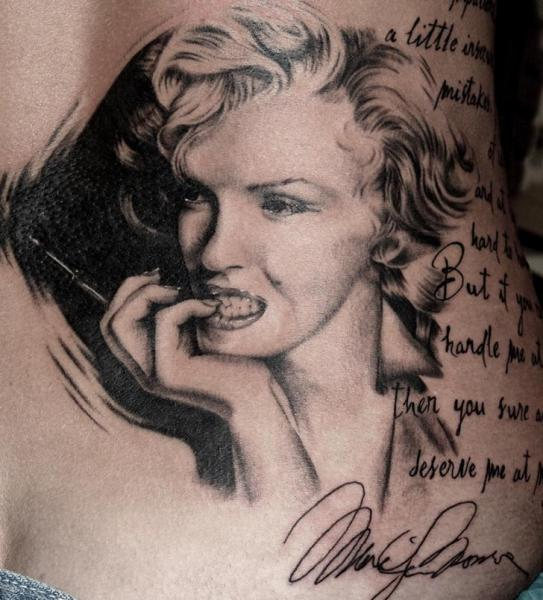Realistic Side Marilyn Monroe Tattoo by Cherub Tattoo
