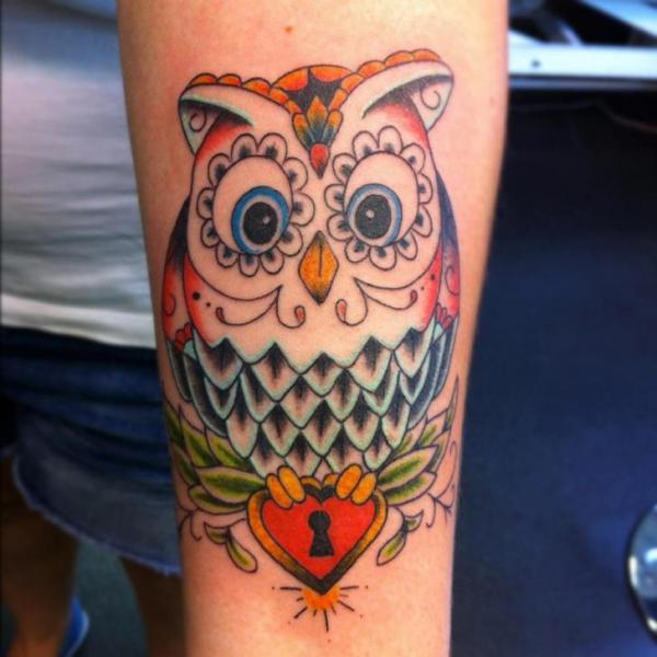 Arm New School Owl Tattoo by Colchester Body Arts