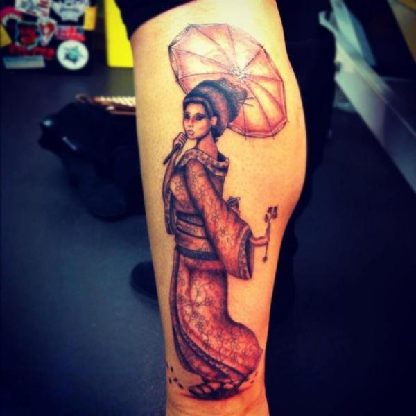 Leg Japanese Geisha Tattoo by Colchester Body Arts