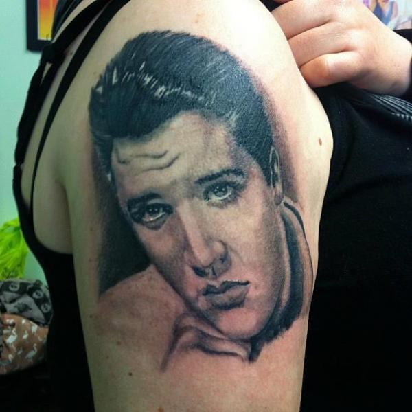Shoulder Realistic Elvis Tattoo by Colchester Body Arts