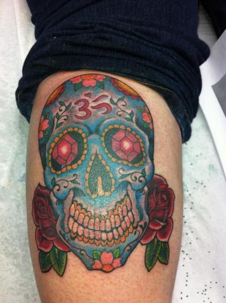 Leg Skull Tattoo by Cornucopia Tattoo