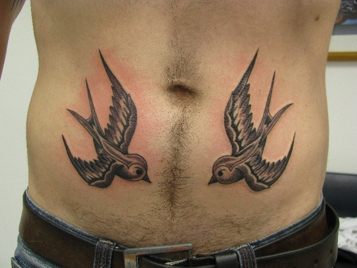 Old School Swallow Belly Tattoo By Crossroad Tattoo