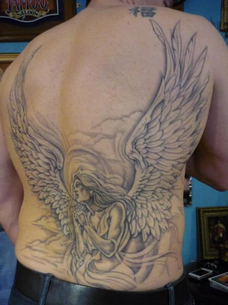 Fantasy Back Angel Tattoo by DC Tattoo Saloon